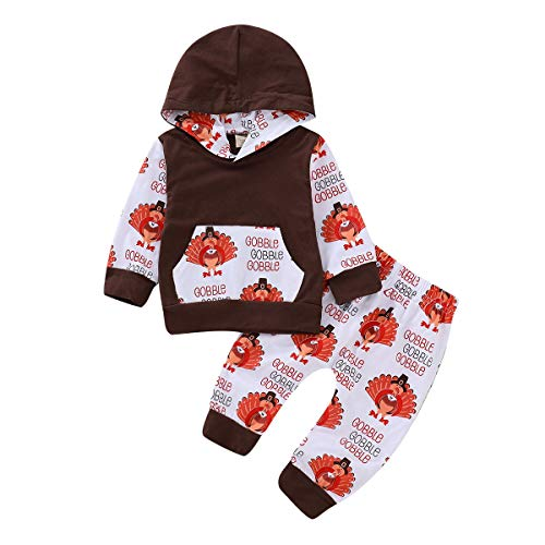 ZOELNIC Baby Girls Boys Thanksgiving Outfit Hooded Pocket Tops + Turkey Pants Clothes Set (Brown, 0-6m(70))
