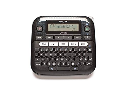 Brother PT-D210VP Label Maker, P-Touch Label Printer, Desktop, QWERTY Keyboard, Up to 12 mm Labels, Includes Carry Case/AC Adapter/12 mm Black on White Tape Cassette