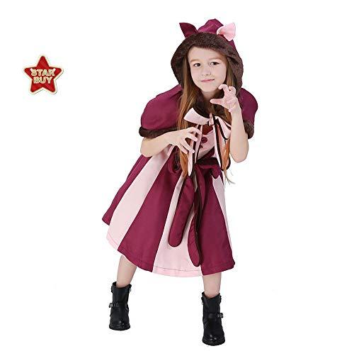 COSOER Alice Im Wunderland Mädchen Cosplay Kostüm Smiley Fantasy Cat Halloween Kinderkostüm - Lila,Red-L