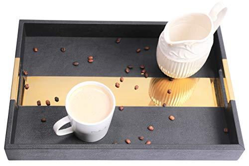 XOplus - Bandeja de café decorativa de color negro para mesa del hogar, decoración de mostrador de cocina, mesa de salón y café, té, vino, whisky, cócteles, bandejas de servir fácil de limpiar.