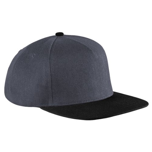 Beechfield - Casquette à visière plate - Unisexe (Taille unique) (Graphite/Noir)