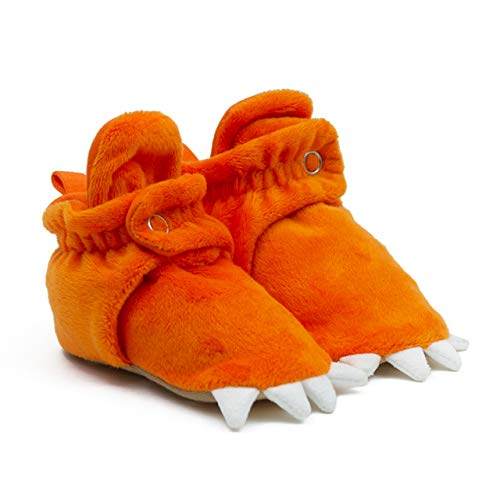 Robeez Orange Monster Toes Snap Baby Booties for Boys 3-6 Months