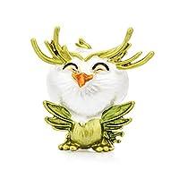 笑顔のコキンメフクロウ鳥のブローチ女性メタルアニマルパーティーカジュアルブローチピンギフト