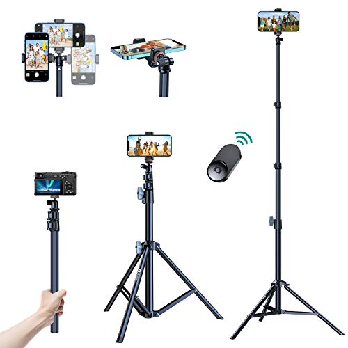 """[Compatible with All Smart Phones]VICSEED 67"""" iPhone Tripod with Remote Shutter, Extendable iPhone Tripod Stand&Selfie Stick Tripod,Aviation Aluminum Lightweight Tripod for iPhone/Android/Camera/GoPro"""