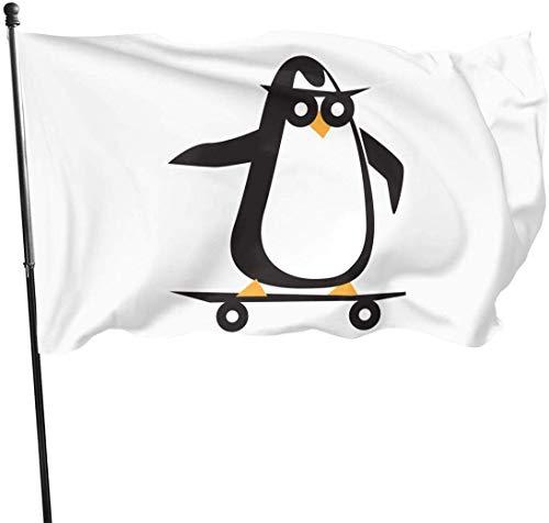 Feng Mei Yan Jiu Fahnen Skateboard Clipart Penguin Decorative Garden Flags Outdoor Artificial Flag for Home Garden Yard Decorations 3x5 Ft