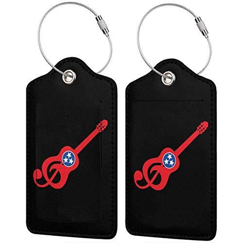 Tennessee-Flaggen-Gitarren-PU-Leder-Gepäckanhänger, niedliche Namensidentifikations-Aufkleber für Reisetaschen-Koffer