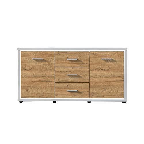 Newfurn dressoir natuur dressoir highboard multifunctionele kast II 145,2x80,2X 37 cm (BxHxD) II [Flynnnnn.Twelve] in wit/Grandson eiken donker woonkamer slaapkamer eetkamer