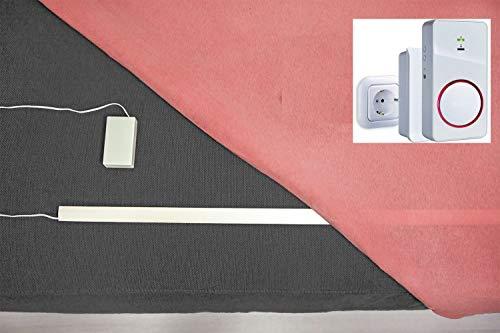 Pratoline Funk-Bettkantensensor - Pflegehilfe - mit Akku Funkempfänger Netz und Mobil - 60cm x 22mm x 2mm - Demenz Sturzprävention - Bettkantenalarm - Hergestellt in Deutschland