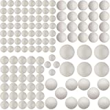 126 Pack Craft Foam Balls, 5 Sizes Including 1-2.4 Inches, Polystyrene Smooth Round Balls, Foam Balls for Arts and Crafts, DIY Craft for Home, Supplies School Craft Project and Holiday Party, White