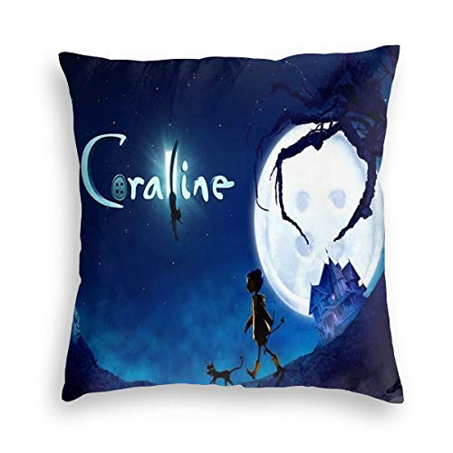 """YGHAPPY Coralines Cat Velvet Pillowcase Cover Decor Unique Throw Pillows Case Square Cushion for Sofa Home Bedding 18""""x18"""""""