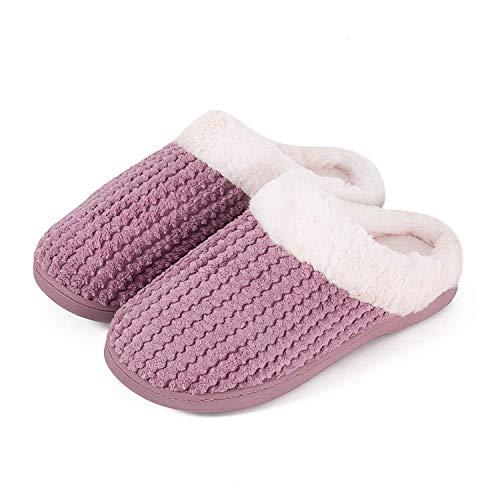 Mabove Hausschuhe Damen Winter Wärme Bequem Plüsch Pantoffeln Indoor Home rutschfeste Kuschelig Weite Leicht Slippers(Pink.HST,40/41 EU)