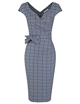 MUXXN Women's Classic Retro Deep V Neck Tie Waist Formal Cocktail Dress