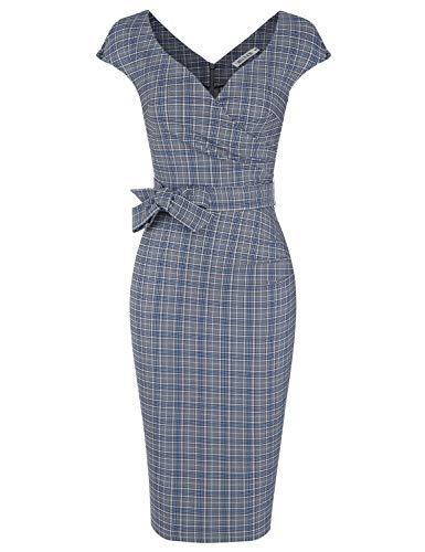 MUXXN Women's 1950s Pinup Deep V Neck Plaid Pattern Midi Cocktail Pencil Dress (Blue Plaid S)
