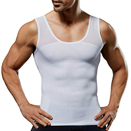 Men's Compression Shirt Slimming Body Shaper Vest to Hide Man Boobs Shapewear White