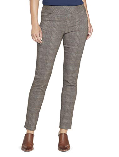 Van Heusen Womens Petite Super Stretch Slim Fit Full Length Pull-On Pant Unterhose, Brown Plaid, 16