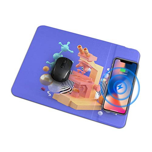 Wireless Charging Mouse Pad Mat Orange Microscope Among Colorful Balls On Qi Wireless Pad Fast Wireless Charger Mouse Pad for Samsung Galaxy S10/s9/s8 Plus Note 9/8 iPhone Xs Max/xr/x/xs/8/8 Plus/ai