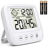 デジタル時計 デジタル温湿度計 目覚まし時計 クロック時計 置き時計 表情表示 LCD大画面 温度計 湿度計 温度と湿度/時間/月日/曜日/最高最低温湿度/アラーム/バックライト 多機能 壁掛け スタンド 赤ちゃん(ホワイト)