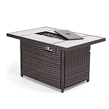 Grand patio Outdoor Propane Fire Pit Table with Cover/Lid for Patio Garden Deck Fire Tables 43 inch 45,000 BTU Wicker/Rectangle
