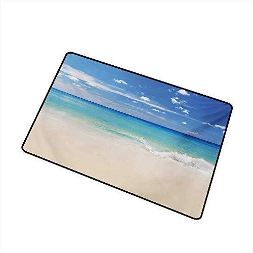 AoLismini Ocean Welcome Fußmatte Tropic Ocean Style Sandy Shore und Sea mit Wellen Escape to Paradise Theme Fußmatte ist geruchlos und langlebig, Creme Türkis Weiß