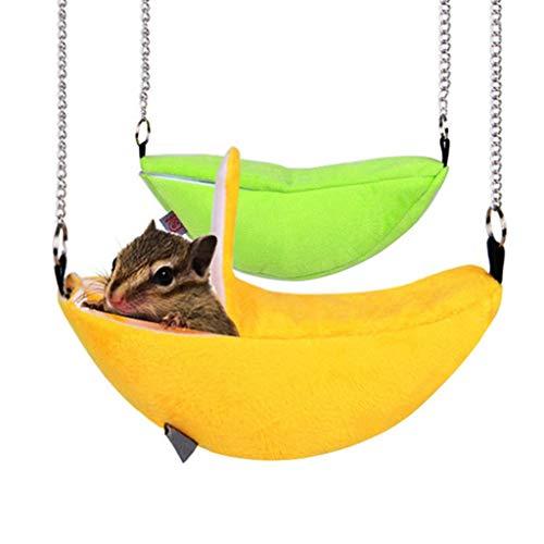 Ogquaton - Cama de oscilación para hámster, la jaula llamativa de nido de oscilación de estilo plátano de ardilla Chinchilla juega elegante y popular