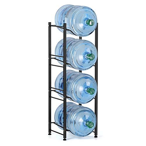 Liheya Wasser Kühler Krug Rack 4 Etagen 5 Gallonen Wasser Flasche Speicher Rack, Wasserflaschenhalter für Büro, Aufbewahrungsregal in Küche, kompakt schwarz