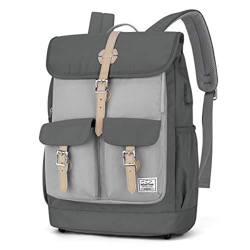 WindTook 15,6 Zoll Laptop Rucksack Backpack Daypack Schulrucksack Notebook Damen Herren mit USB Anschluss für Uni Arbeit Campus Freizeit, 31 x 16 x 41 cm, Grau-Khaki