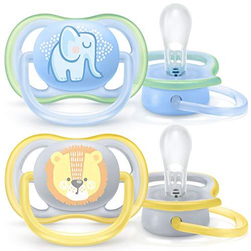 Philips Avent Ultra Air Schnuller SCF085/01, Atmungsaktiv, Kiefergerecht, BPA frei, 0-6 Monate, 2er Pack, blau/gelb