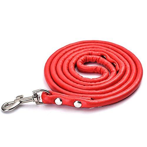 Xiaoyue Correa de Perro del Perro casero Creativo de tracción de Cuerda ecológico Cuerda PU Ronda pequeña Cadena y Perro Mediano Juguetes for Mascotas 120 * 1 cm de Color Rojo lalay