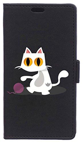 Becool FOL-WK069 - Beschermhoes in Bookstyle voor Wiko Sunny Max, Veelkleurige/kat spelen met een bal, Meerkleurig