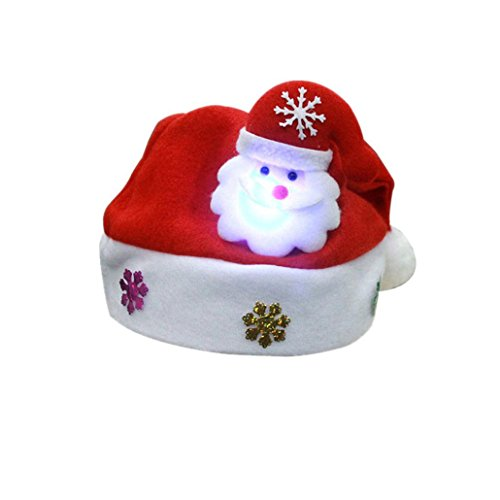 Xshuai 25cmX30cm Kinder LED Weihnachtsnetter Hut-Weihnachtsmann-Ren-Schneemann Kappe (One Size, B)