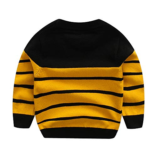 Peecabe Kids Boys Cable Knit Sweater Long Sleeve Round Collar Striped Sweatshirt Baby Cotton Pullover Sweater Spring 1-5T (Yellow, 3T)