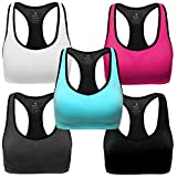 MIRITY Women Racerback Sports Bras - High Impact Workout Gym Activewear Bra Color Black Grey Blue Hotpink White Pack of 5 Size L by