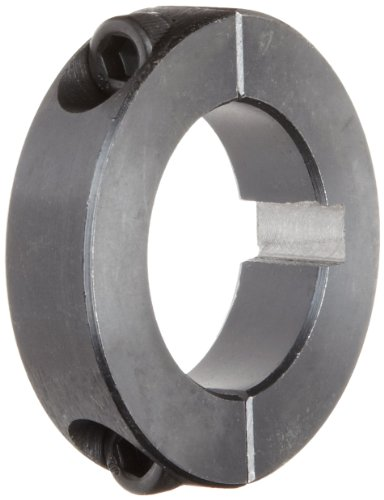 "Climax Metal 2C-100-KW Two-Piece Clamping Collar, With Keyway, Black Oxide Plating, Steel, 1"" Bore, 1-3/4"" OD, 1/2"" Width"