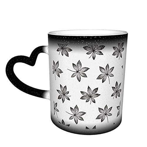 Taza de cerámica Plantas tropicales Floral Selva sin costuras Aralia Taza que cambia de color sensible al calor En el cielo Tazas de café Regalos personalizados