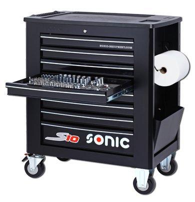 MST-Design Sonic S8 Werkzeugwagen Werkzeug Wagen gefüllt 241-teilig, schwarz 7 Schubladen 4 Schubladen gefüllt
