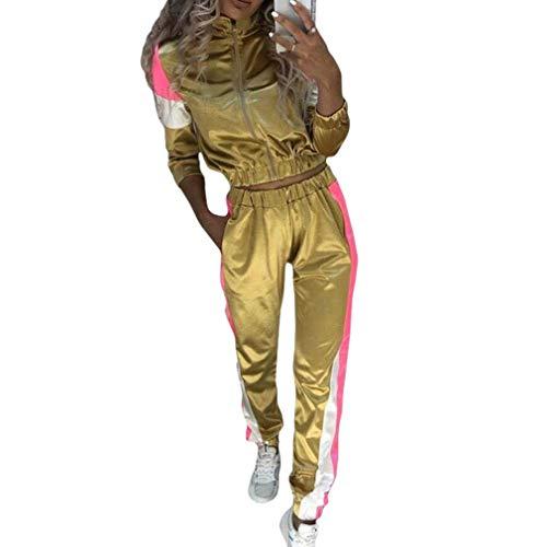 Kunfang Ropa Deportiva Mujer Reflectante de Dos Piezas Traje Deportivo Conjunto Cremallera Conjunto Yoga Pantalones eláSticos con Cordón Chándal