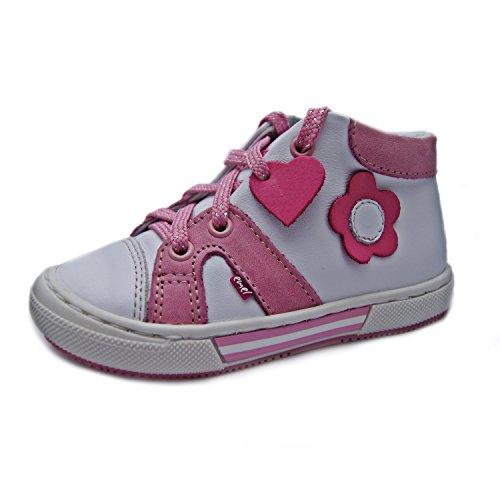 Kinderschuhe Lauflernschuhe für Mädchen Turnschuhe weiß pink Modell Emel 2052-1 handmade (24)