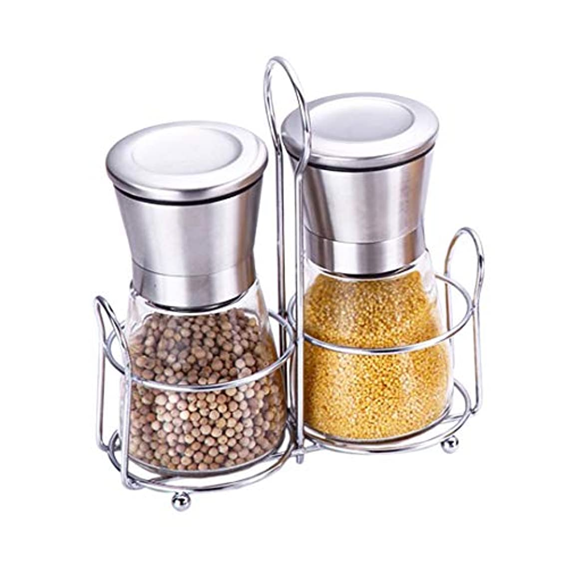 Radish Stars 2 pack of Salt & Pepper Grinder with a Stand Adjustable Ceramic Coarseness Stainless Steel Pepper Shaker Durable Storage Containers for Table Kitchen (6.8