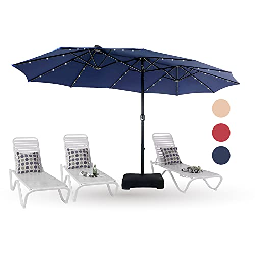 PHI VILLA 15ft Solar LED Large Patio Umbrella Double-Sided Outdoor Market Pool Lighted Umbrellas with 36 LED Lights, Umbrella Base (Stand) Included, Navy Blue