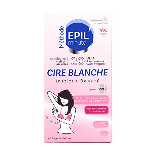 EPIL'minute - 20 BANDES MAILLOT & AISSELLES CIRE BLANCHE - Épilation douceur, application confort -...