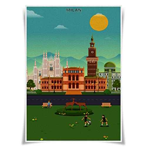Nice Captain Travel Posters Famous Tourist Sites Prints A3 Size Wall Art Home Decor (Italy Milan)