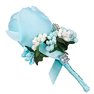 Silk Flower Arrangements Calcifer 6 Pcs Handmade Cute Rose Berry Rhinestone Groom Groomsman Bridal Bridegroom Boutonniere Corsage Silk Flower Wrist Flowers Wedding Accessories #1002 (Sky Blue)