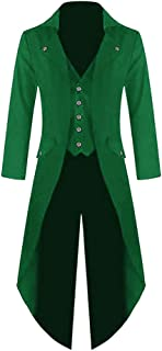 Mens Halloween Steampunk Victorian Jacket Gothic Tailcoat Costume Vintage Tuxedo Viking Renaissance Pirate Coats