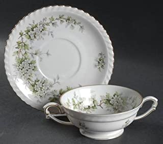 Vintage Franconia Krautheim Footed Cream Soup Bowl & Saucer Set in the Hawthorn Pattern Featuring White Flowers and Green Leaves Selb Bavaria Germany