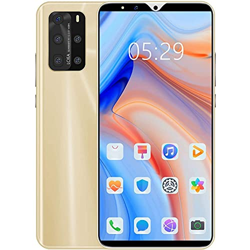 Smartphone Desbloqueado, Teléfonos Android Desbloqueados De 4GB + 64GB, Cámara De 8MP + 16MP, Teléfono Celular 4G Dual SIM De Pantalla Completa De 5.8'Desbloqueado, 3800Mah,Oro