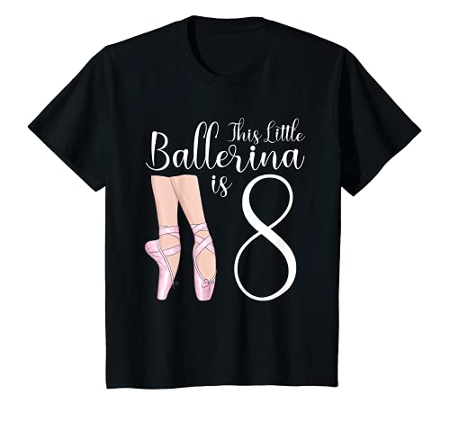 Youth 8 Year Old Ballerina Birthday Party Dance Ballet 8th Gift T-Shirt