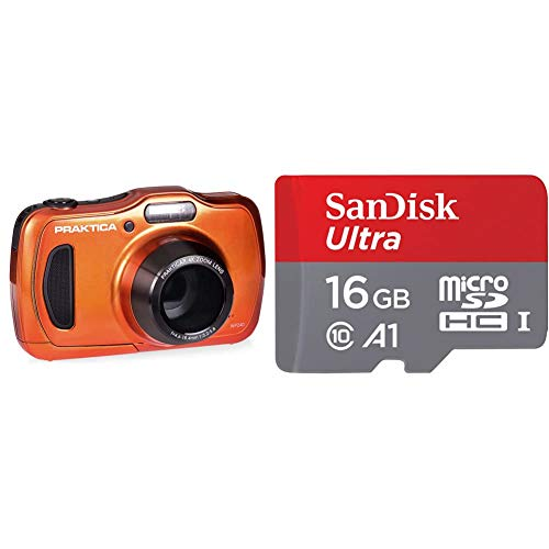 Praktica Luxmedia WP240 Waterproof Digital Compact Camera - Orange (20 MP,4x Optical Zoom) & SanDisk Ultra 16 GB microSDHC Memory Card + SD Adapter with A1 App Performance Up to 98 MB/s, Class 10, U1