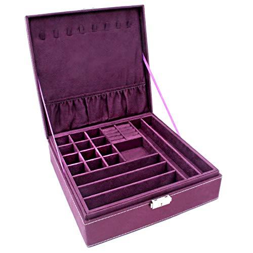 KLOUD City TwoLayer lint Jewelry Box Organizer Display Storage case with Lock Purple