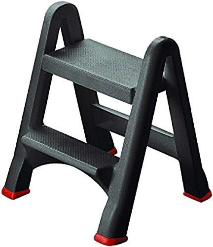 Curver - Taburete Escalera Plegable con 2 Peldaños - Color Antracita