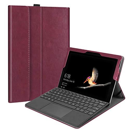 Fintie Hülle für Microsoft Surface Go - [Multi-Sichtwinkel] Hochwertige Kunstleder Schutzhülle Tasche Etui Cover Hülle mit Stylus-Halterung für Surface Go (10 Zoll) Tablet-PC, Bordeaux